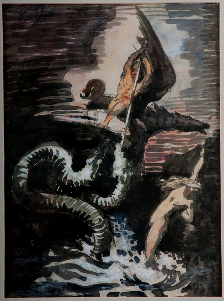 Mythological Slaying of the Sea Serpant- Delacroix, Eugene
